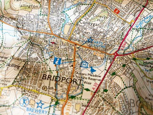 OS map showing a close up of Bridport's town center and the A3066 main road.